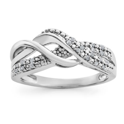Womens Diamond Accent Genuine White Diamond Sterling Silver Band