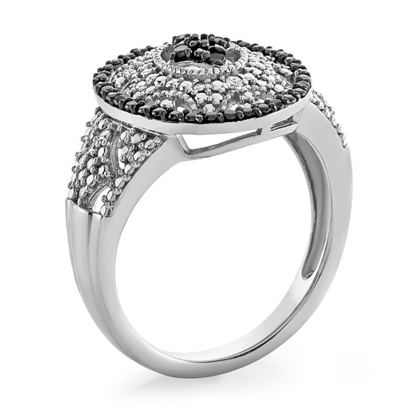 Womens Diamond Accent Black Diamond Sterling Silver Cocktail Ring
