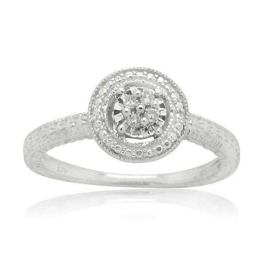 Womens 1/10 CT. T.W. Genuine White Diamond Sterling Silver Halo Cocktail Ring