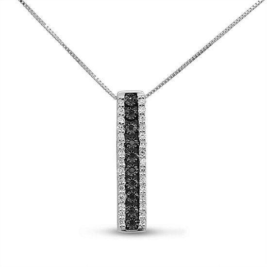 Womens 1/5 CT. T.W. Genuine Black Diamond Sterling Silver Pendant Necklace