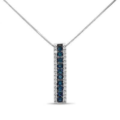 Womens 1/5 CT. T.W. Blue Diamond Sterling Silver Pendant Necklace