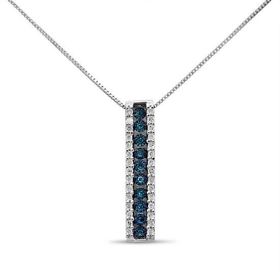 Womens 1 5 Ct Tw Genuine Blue Diamond Sterling Silver Pendant Necklace