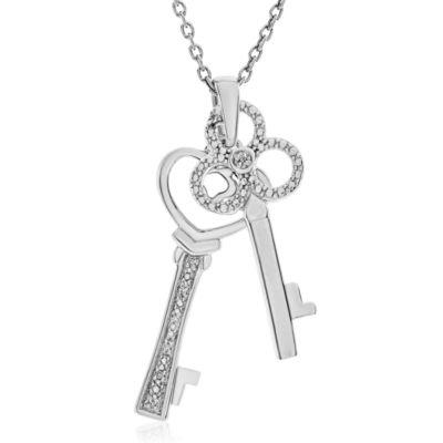 Diamond Accent White Diamond Round Sterling Silver Pendant