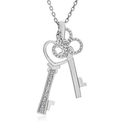 Womens Diamond Accent Genuine White Diamond Sterling Silver Pendant