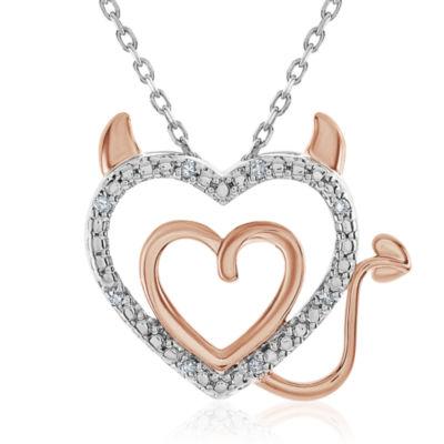 Womens Diamond Accent Genuine White Diamond Sterling Silver Heart Pendant