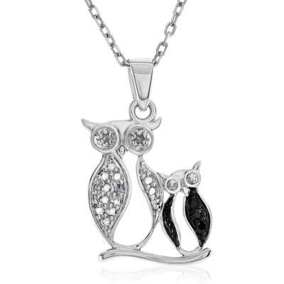 Diamond Accent Black Diamond Round Sterling Silver Pendant