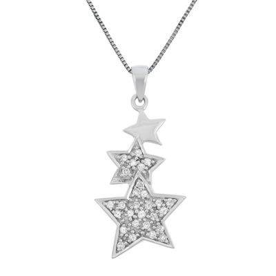 Womens 1/5 CT. T.W. Genuine White Diamond Sterling Silver Star Pendant Necklace