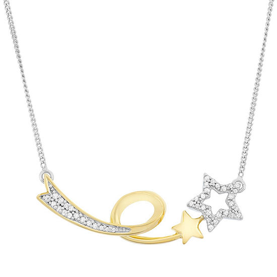 Womens 1/7 CT. T.W. White Diamond Sterling Silver Star Statement Necklace