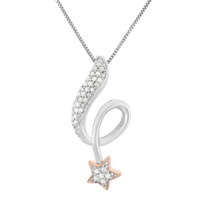 Womens 1/7 CT. T.W. Genuine White Diamond Star Pendant Necklace