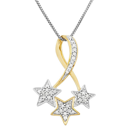 Womens 1 7 Ct Tw Genuine White Diamond Sterling Silver Star Pendant Necklace