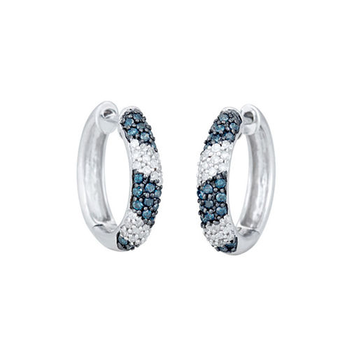 1/2 CT. T.W. Blue Diamond Sterling Silver Hoop Earrings