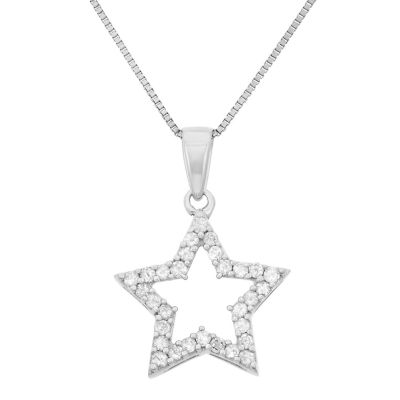 Womens 1/4 CT. T.W. Genuine White Diamond Sterling Silver Star Pendant Necklace