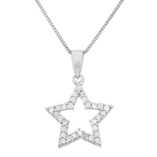 Womens 1/4 CT. T.W. Genuine White Diamond Sterling Silver Star Pendant Necklace