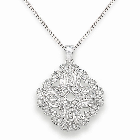 Womens 1 3 Ct Tw Genuine White Diamond Sterling Silver Pendant Necklace