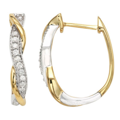 1/4 CT. T.W. Genuine White Diamond Sterling Silver Hoop Earrings