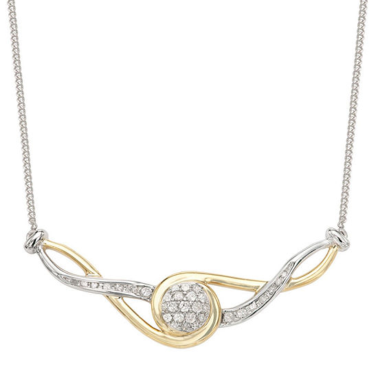 Womens 1/5 CT. T.W. Genuine White Diamond Sterling Silver Statement Necklace
