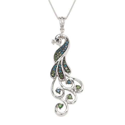Womens 1/3 CT. T.W. Blue Diamond Sterling Silver Pendant Necklace