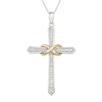 Womens 1/6 CT. T.W. Genuine White Diamond Sterling Silver Cross Pendant Necklace