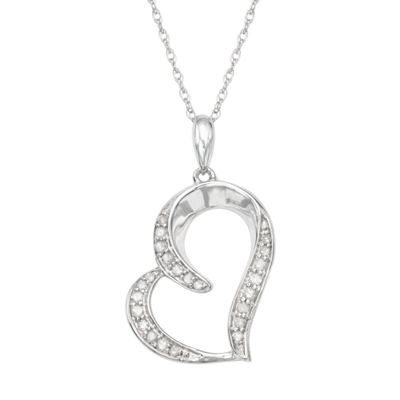 Womens 1/8 CT. T.W. Genuine White Diamond Sterling Silver Heart Pendant Necklace