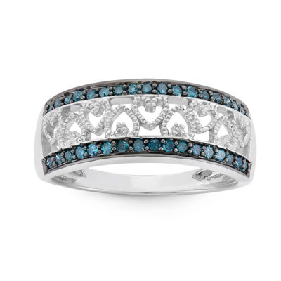 Womens 2 Mm 1/4 CT. T.W. Blue Diamond Sterling Silver Heart Band