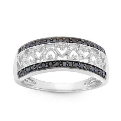 Womens 2 Mm 1/4 CT. T.W. Black Diamond Sterling Silver Heart Band