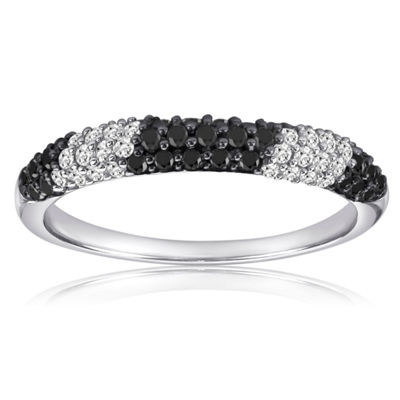 Womens 3 Mm 1/2 CT. T.W. Black Diamond Sterling Silver Band