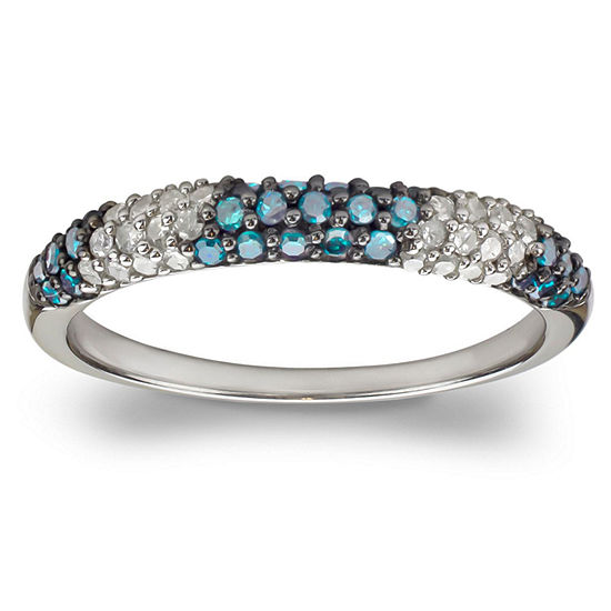 3 Mm 1/2 CT. T.W. Blue Diamond Sterling Silver Band