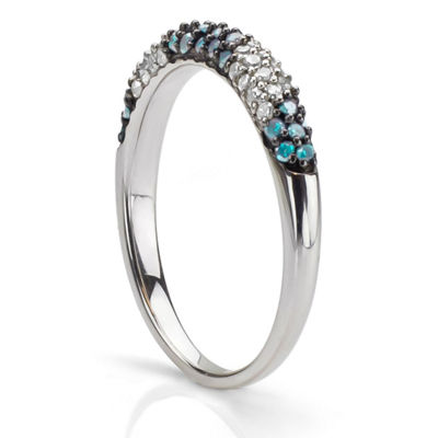 Womens 3 Mm 1/2 CT. T.W. Blue Diamond Sterling Silver Band