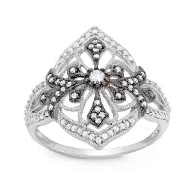 Womens 1/3 CT. T.W. White Diamond Sterling Silver Cocktail Ring