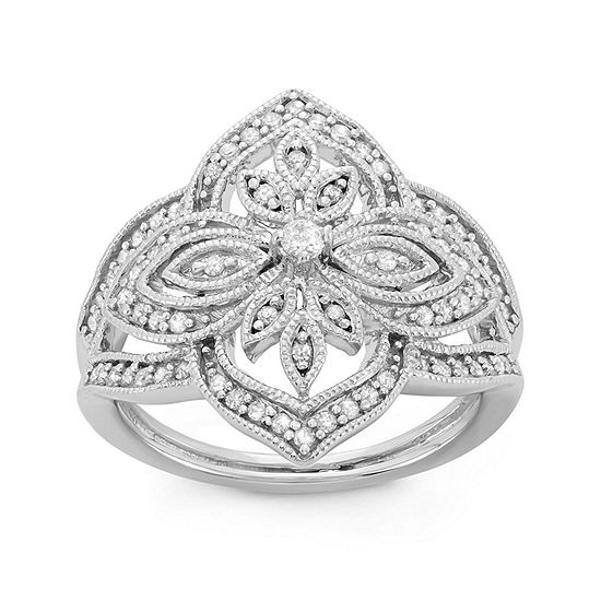 Womens 3/8 CT. T.W. Genuine White Diamond Sterling Silver Cocktail Ring