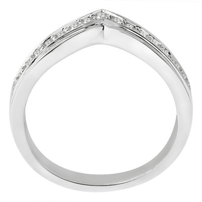 Womens 3.5 Mm 1/4 CT. T.W. Genuine White Diamond Sterling Silver Band