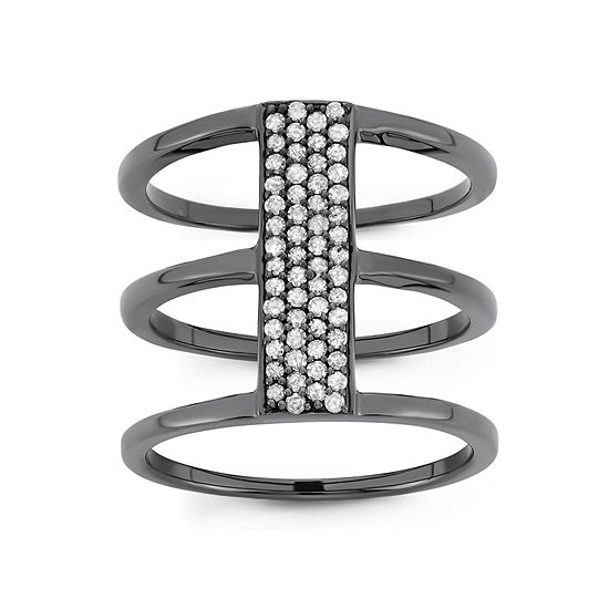 Womens 1/3 CT. T.W. Genuine White Diamond Sterling Silver Cocktail Ring