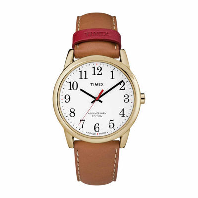 Timex Easy Reader 40th Anniversary Mens Brown Strap Watch-Tw2r40100jt
