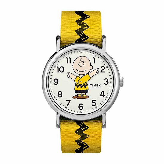 Timex Weekender Peanuts Peanuts Mens Yellow Strap Watch-Tw2r41100jt