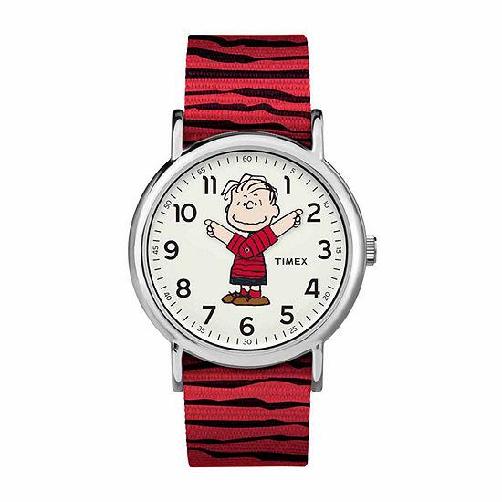 Timex Weekender Peanuts Peanuts Unisex Adult Red Strap Watch-Tw2r41200jt
