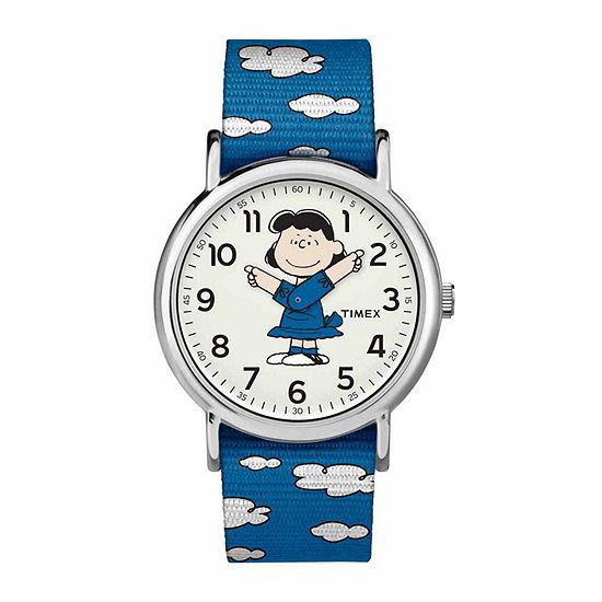 Timex Weekender Peanuts Peanuts Womens Blue Strap Watch-Tw2r41300jt