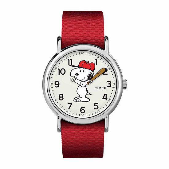 Timex Weekender Peanuts Peanuts Unisex Red Strap Watch-Tw2r41400jt