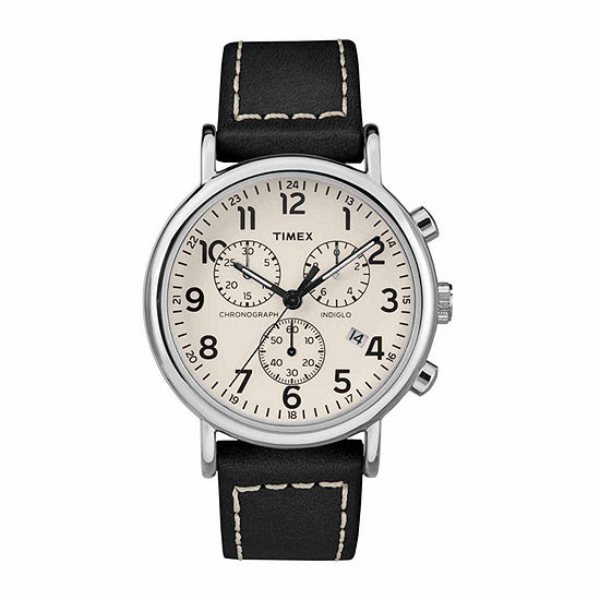 Timex Weekender Chrono Mens Black Leather Strap Watch-Tw2r42800jt