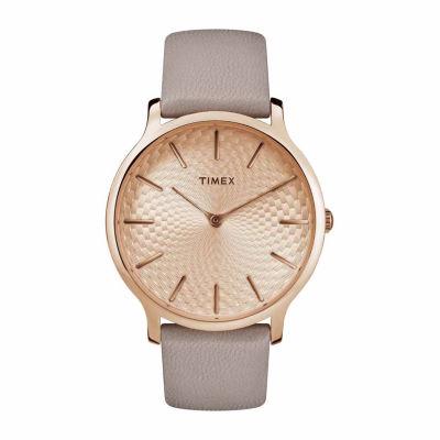 Timex Metropolitan Skyline Womens Gray Strap Watch-Tw2r49500jt