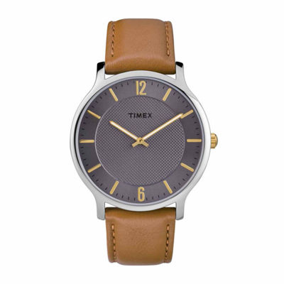 Timex Metropolitan Skyline Mens Brown Strap Watch-Tw2r49700jt