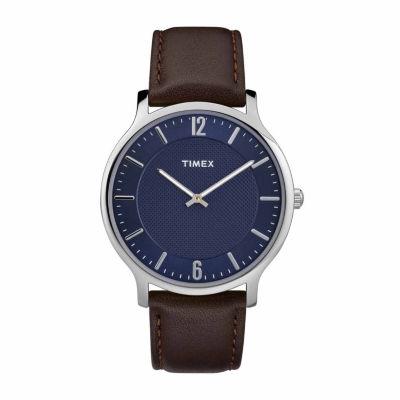 Timex Metropolitan Skyline Mens Brown Strap Watch-Tw2r49900jt