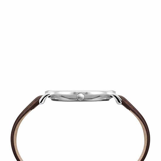 Timex Metropolitan Skyline Mens Brown Leather Strap Watch-Tw2r49900jt