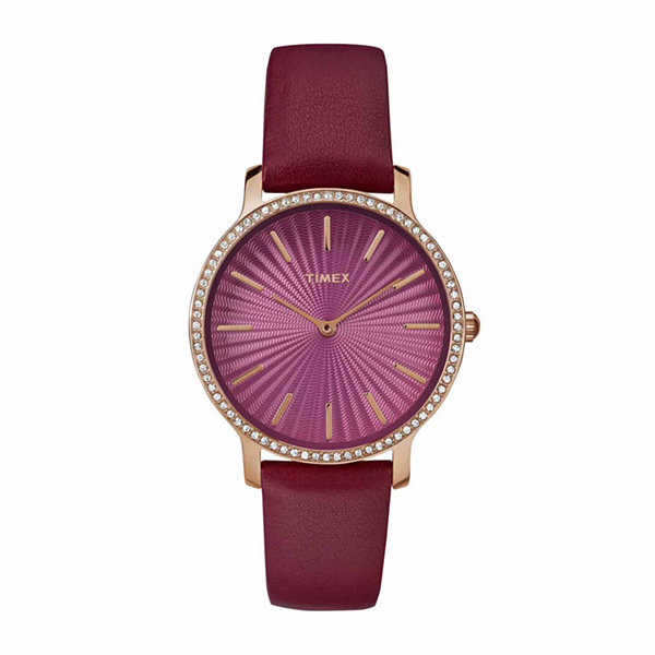 Timex Metropolitan Starlight Womens Red Strap Watch-Tw2r511009j