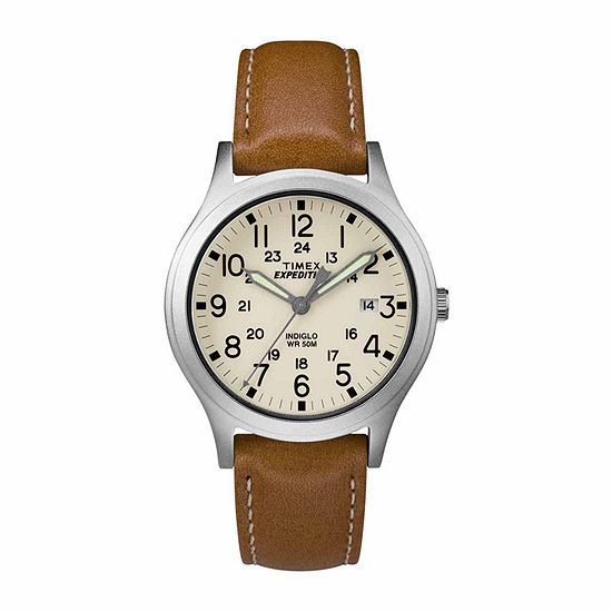 Timex Expedition Scout 36 Unisex Brown Leather Strap Watch-Tw4b110009j