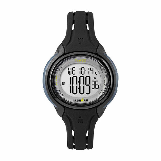 Timex Ironman Sleek 50 Oval Mid-Size Womens Black Strap Watch-Tw5m137009j