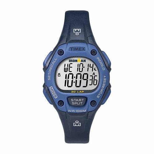 Timex Ironman Classic 30 Mid-Size Womens Blue Strap Watch-Tw5m141009j