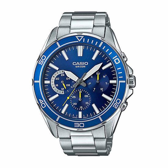 Casio Mens Silver Tone Stainless Steel Bracelet Watch-Mtd320d-2a