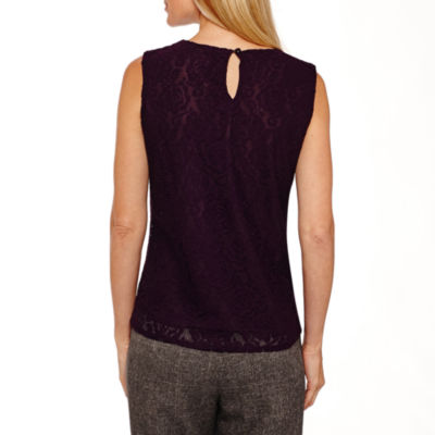 Black Label by Evan-Picone Sleeveless Lace Blouse