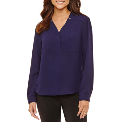 Black Label by Evan-Picone Long Sleeve Blouse
