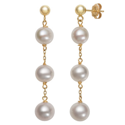 Cultured Freshwater Pearl 10K Gold Drop Earrings